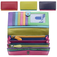 Ladies Womens RFID Blocking Leather Envelope Purse Zipped Sections Green Red