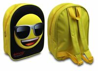 CHILDRENS EMOJI 3D BACK PACK COOL BLACK SUNGLASSES RUCKSACK KIDS SCHOOL BAG