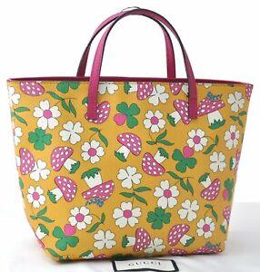 Auth GUCCI Children's Mushroom Flower Motif Hand Bag PVC Leather Yellow D2205