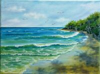 "Art12""/9""summer tropical ocean,oil hand painting, Seascape,ocean, landscape,surf"