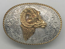 VINTAGE Crumrine Belt Buckle Bighorn Sheep Hunting Design Western Cowboy