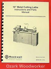 "ROCKWELL 10"" Cabinet Lathe Operator Parts Manual 0588"