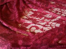 """Beautiful Maroon Stretch  Lace Floral Fabric Double Side Scalp  Border 55"""" 140cm"""