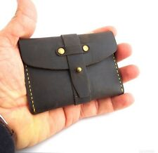 Men's Real Soft Leather Credit Card Case 2 Slots Back Pocket Size Slim Handmade