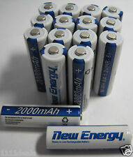 16 Batteries Rechargeable AA NiMH 2000mAh 1.2V 1500 Cycles Battery New Energy