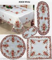 Christmas Poinsettia Bell Candle Placemat Table Runner Tablecloth Holiday #3838W