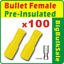 100 x Yellow Female Bullet Pre-Insulated Crimp Terminals Wiring Connector2.5-6mm