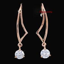 18k Rose Gold Plated Crystal Dangle Hook Earring IE128
