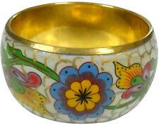 Designer Floral design gold embossed enamel Off white bangle bracelet India