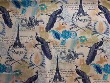 Floral Peacocks In Paris On Beige Valance