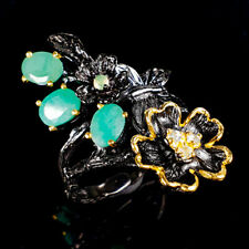 Handmade Natural Emerald 925 Sterling Silver Ring Size 8/R120791