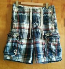 Abercrombie & Fitch Distressed Cargo Plaid Shorts Men's 30 Blue white cotton