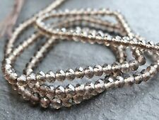 "2.7mm MICRO FACETED SMOKEY QUARTZ RONDELLES, 13"", 150 beads"