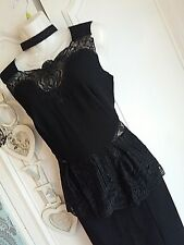LIPSY SIZE 10 BLACK & NUDE LACE PEPLUM SHIFT / WIGGLE PENCIL DRESS BNWT RRP £75