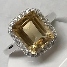 Natural 2.5ct Golden Citrine Accent Stone 925 Sterling Silver Emerald Cut Ring 7