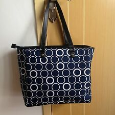 Gifts New Thirty One LARGE Cindy Utility Tote Shoulder Bag Gifts  - Navy Circle