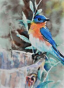 Original Watercolor Miniature Art ACEO Card Print, Signed K.S. - SPRING BLUEBIRD