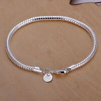 Wholesale 925 Silver 3mm Bracelet Snake Chain Men Women Fashion Jewelry Gift