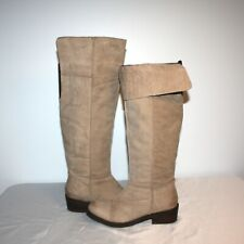 Women's -TWO LIPS Tall Leather Boots Taupe/Beige , Zip Sz  6