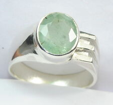 3.90 CT NATURAL COLOMBIA EMERALD GEMSTONE 925 S SILVER Astrological RING FOR MEN