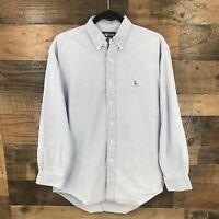 Ralph Lauren Men's Light Blue Yarmouth 100% Cotton Oxford Button Down Shirt