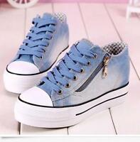 Womens Round Toe Lace Up Sneakers Platform Wedge Heels Blue Denim Canvas Shoes