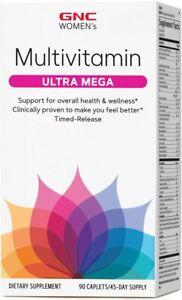 GNC Women's Ultra Mega Multivitamin 90 Caplets Overall Health Wellness in Women