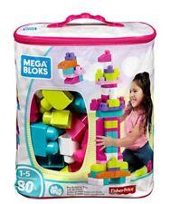 Mega Bloks Pink Big Bag Of Building Blocks By Fisher Price 80pcs Ages 1-5 NIB