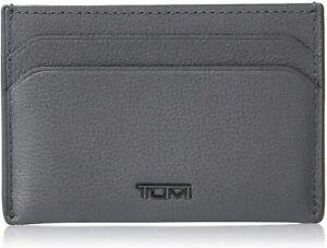 Tumi Nassau SLG Slim Card Case Textured Leather Wallet Gray NWT Gift Box NIB New