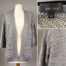 Per Una Open Fronted Cardigan Bolero Shrug Cover Up UK 12 Silver Grey M&S