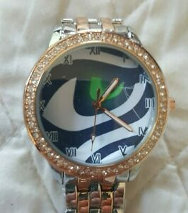 Seattle Seahawks Women's NFL Luxury TWO TONED Stainless Steel Watch NEW (RARE)