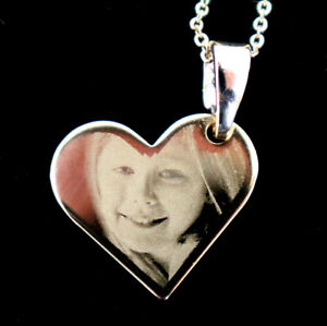 Precision Engraved Gold Plated Titanium Hanging Heart Photo Pendant