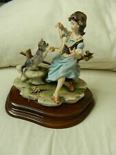 Vintage Capodimonte figurine by Cazzola - Girl with cat