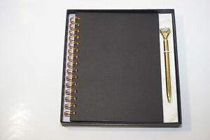 Beautiful A5 Pink, Purple or Black Hardback Spiral Notebook Diamond Pen Gift Set