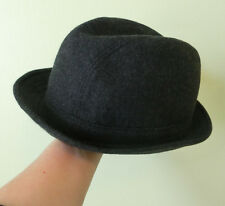 Men's Italian Oviesse Classic Wool Fedora Trilby Homburg Hat Size L 61/58 Gray