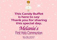 Personalised Girl Communion Candy Buffet Table Sign Blonde Hair Girl