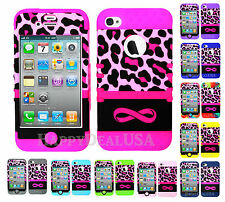 KoolKase Hybrid Armor Silicone Cover Case for Apple iPhone 4 4S - Leopard Pink