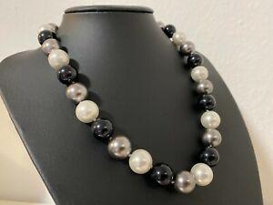 Muschelkernperlen Collier Kette Länge 49 cm ! Perlen MULTI ca  14 mm ! WH/BL/GR