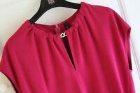 Marc Cain Pink Dress Bright Fuchsia Chain Neck Detail Pockets Bright Stunning
