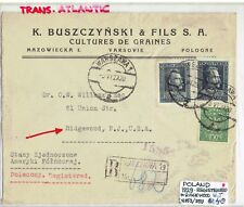 POLAND   REGISTERED COVER FROM ,,WARSAW '' TO ,,USA ''3. VI. 1929.