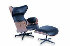 Mid Century Modern Wingback Plywood Walnut Wood Vintage Lounge Chair Ottoman Set