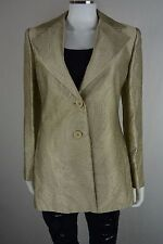 Women's Linda Allard Ellen Tracy size 6 Textured Gold 100% Silk Blazer NEW NWT