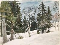 Karl Adser 1912-1995 Wintertag in Norwegen Wald Bäume Skandinavien