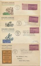 1939 FDC, GOLDEN JUBILEE OF STATEHOOD, SET 4 COVERS
