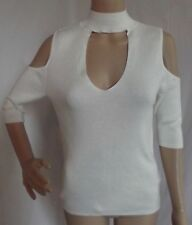 EXPRESS Small IVORY RIBBED COLD SHOULDER CUT-OUT SWEATER v-neck (S 4-6)