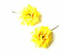 2 x Yellow Rose Flower Hair Grips Clips Bridesmaid Bobby Pins Slides Boho 2113