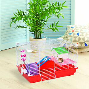Hamster Cage Small Pet Animal Travel Cage Box Double Layers with Accessories