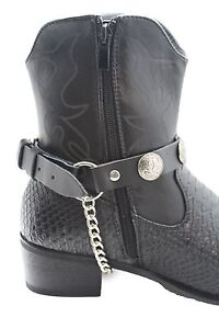 Men Indian American Face Silver Chain Fashion Western Shoe Boot Black Pair Strap