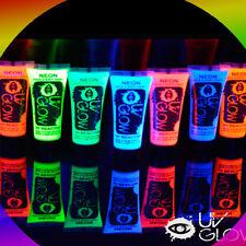 7 tubetti VERNICE colorata FLUORESCENTE per PELLE VISO CORPO pittura UV fluo