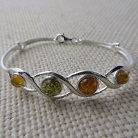Genuine Multi-Color BALTIC AMBER Bangle in solid 925 STERLING SILVER #0035